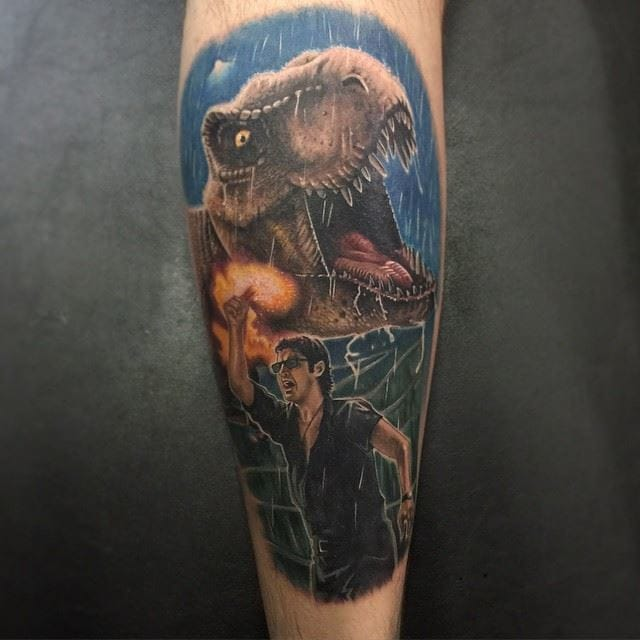 Jurassic Park tattoo by Chris Jones.
