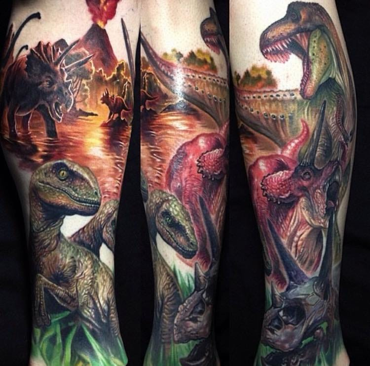 Dinosaur tattoos by Paul Acker.