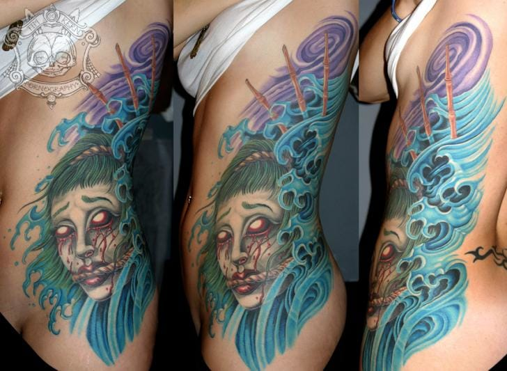 Japanese demon and wave tattoo by Tim Kerr #wave #japanese #TimKerr