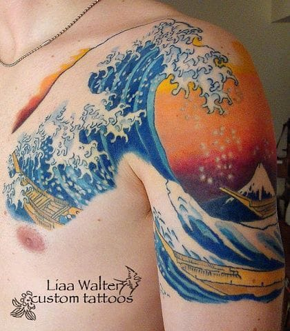Hokusai Wave Tattoo by Liaa Walter