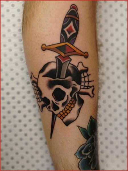 Little skull and dagger by Chapel Tattoo