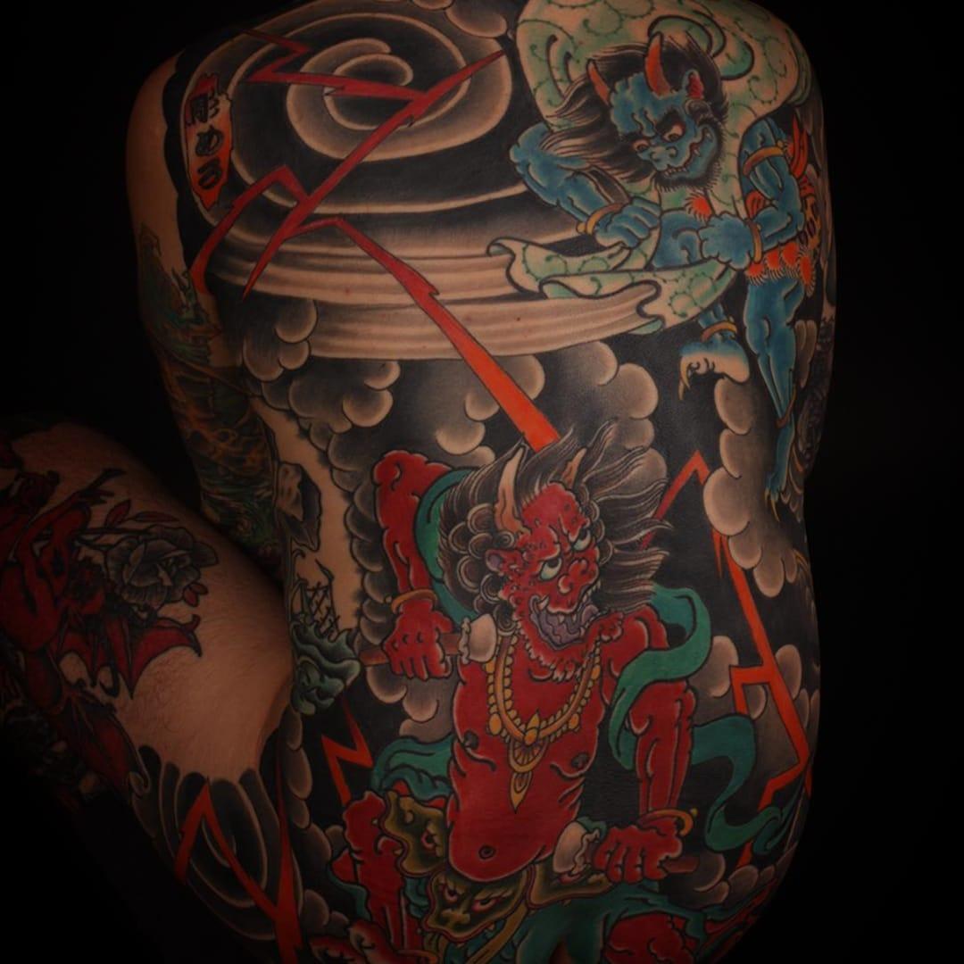 Rodrigo Melo's Traditional Japanese Tattoo of Raijin and Fujin