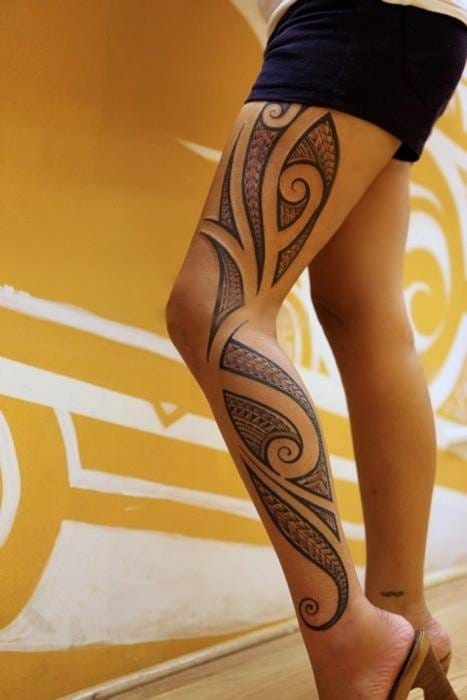 Elegant Polynesian leg sleeve. Please credit the artist in the comments.
