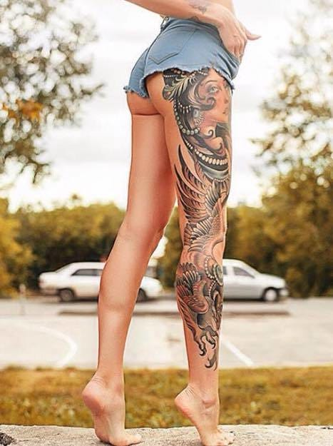 Neo Traditional leg sleeve. Please credit in comments.