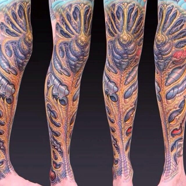 Cool biomechanical leg sleeve by Guy Aitchinson.