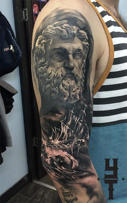 Another Poseidon and storm half sleeve by Yarson.