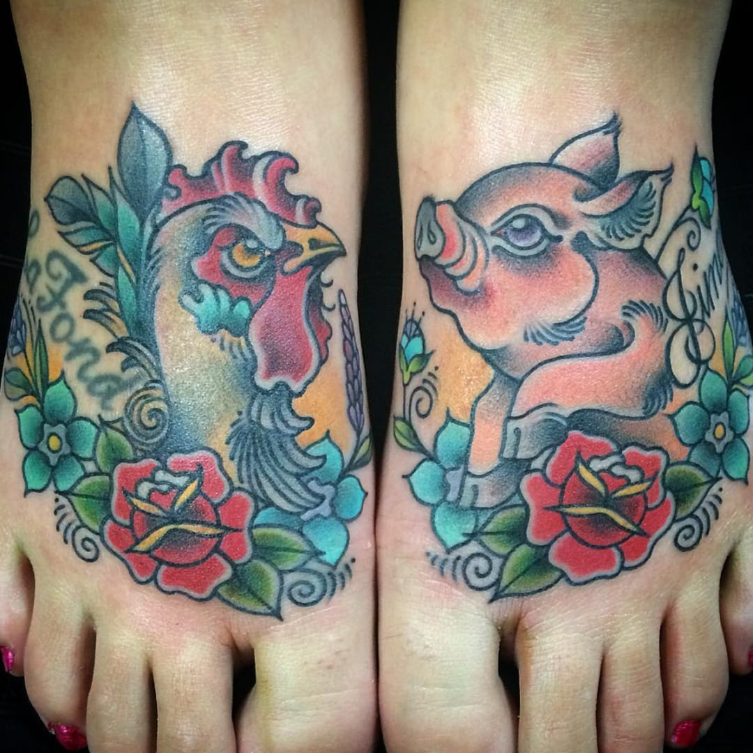 Keep Your Head Afloat with Traditional Pig and Rooster Tattoos