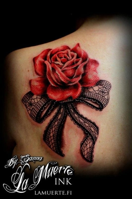 Rose and lace tattoo by Sanna