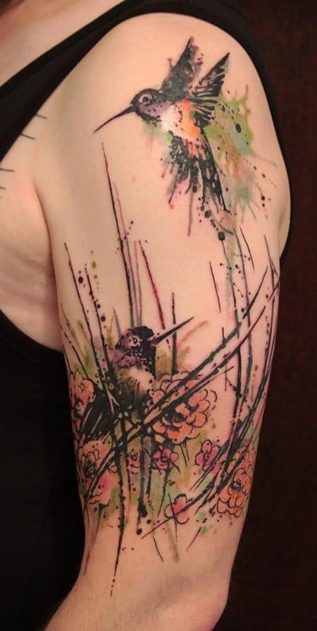 Gene Coffey made this hummingbird tattoo his own! #hummingbird #color #sketchstyle #bird #GeneCoffey