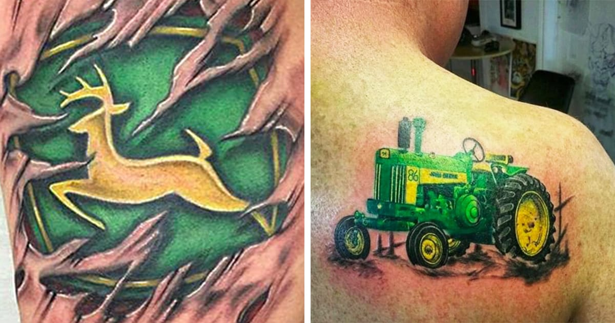 these john deere tattoos have us seeing green tattoodo. Black Bedroom Furniture Sets. Home Design Ideas