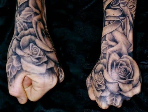 Hand tattoo by Tim Hendricks, Saltwater Tattoo.
