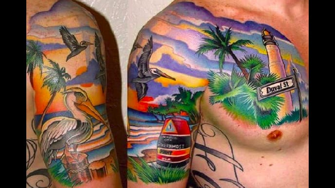 Life s a beach especially when you have a beach tattoo for Beach scene tattoos