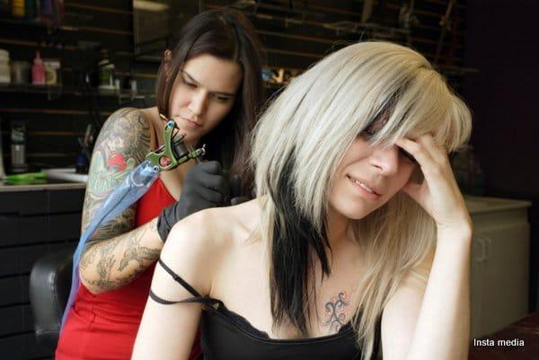 Getting a shoulder tattoo