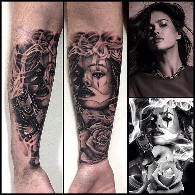 The sexy Irina Shayk was used as a reference for this tattoo by József Török.