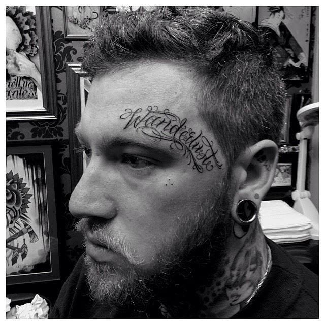 But if you really want to put words on your face, go with a really nice handstyle.