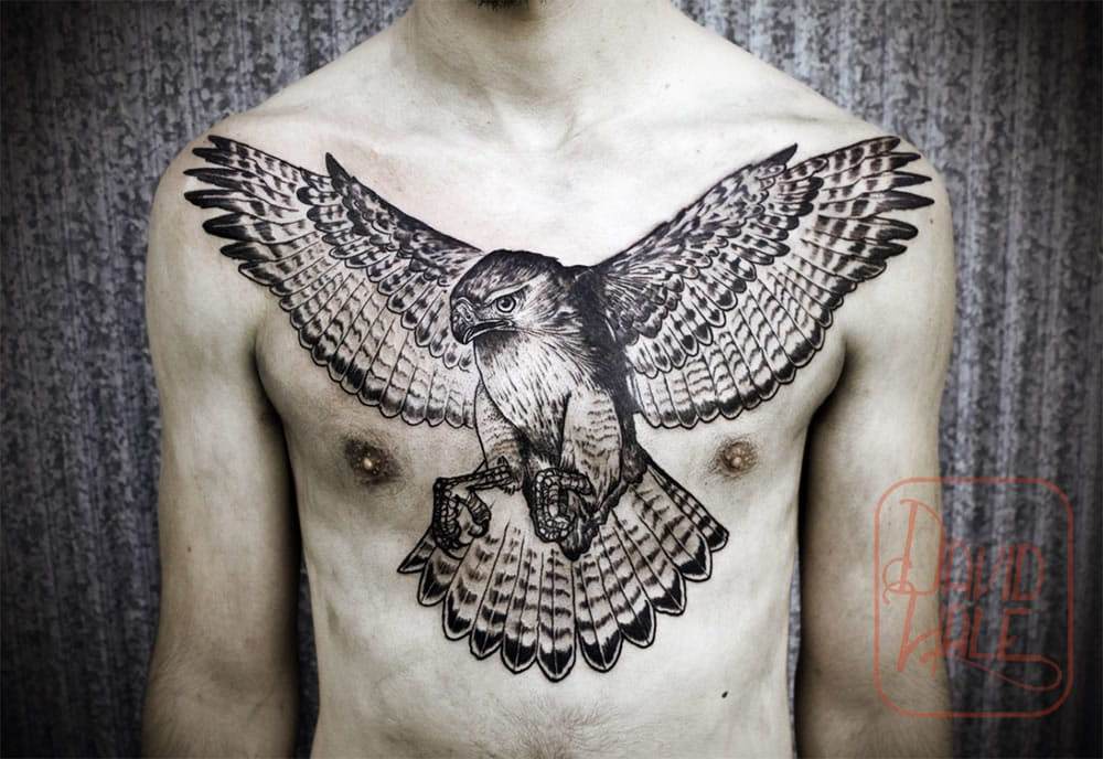 Another one of David Hale's many hawk tattoos.