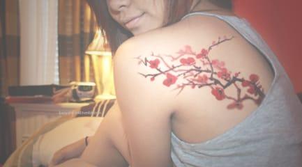 14 Colourful Cherry Blossom Tattoos