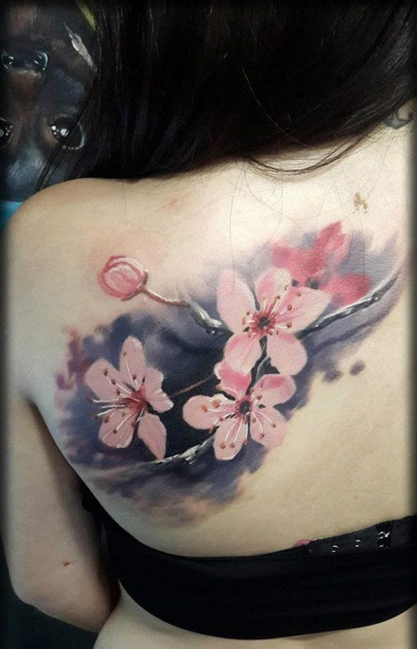 Pretty watercolor cherry blossom tattoo #cherryblossom #japanese #cherrytree #floral #symbolism #watercolor