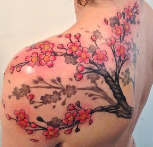 Shoulder piece by Q Tattoo #cherryblossom #japanese #cherrytree #floral #symbolism  #QTattoo