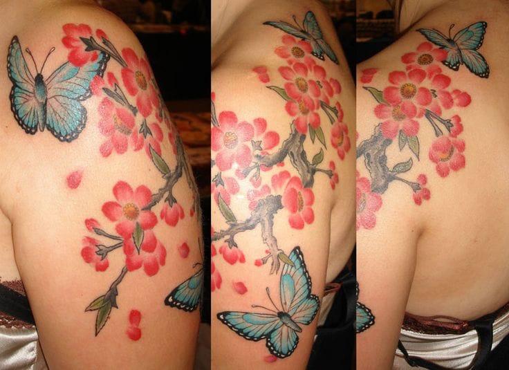 Butterfly and cherry blossom tattoo by Joey Ortega #cherryblossom #japanese #cherrytree #floral #symbolism #JoeyOrtega