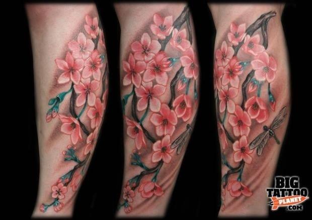 Cherry blossom tattoo by Cesar De Cesaro #cherryblossom #japanese #cherrytree #floral #symbolism #CesarDeCesaro