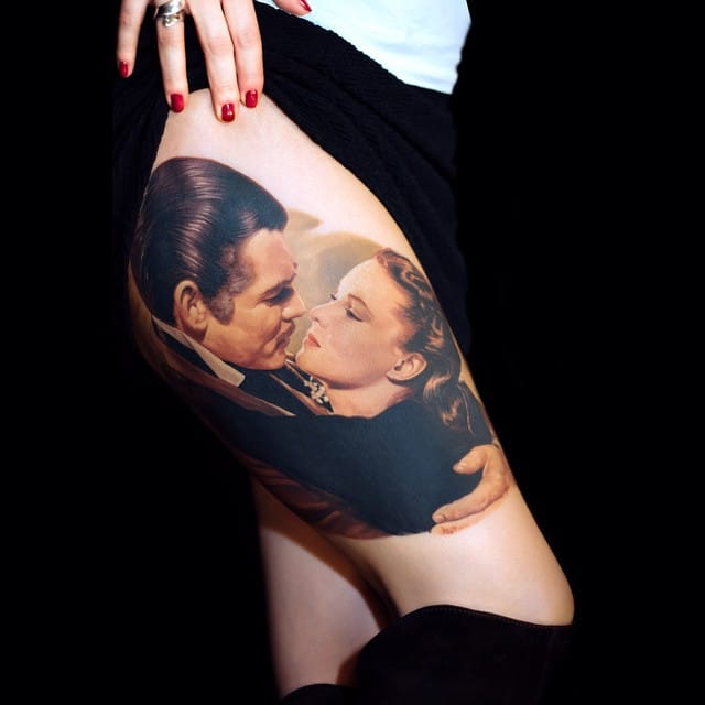 Romantic Lovers Kiss Tattoos Part 1