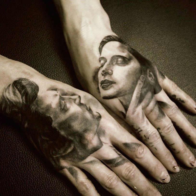 Wonderful split hand tattoos by David Allen!