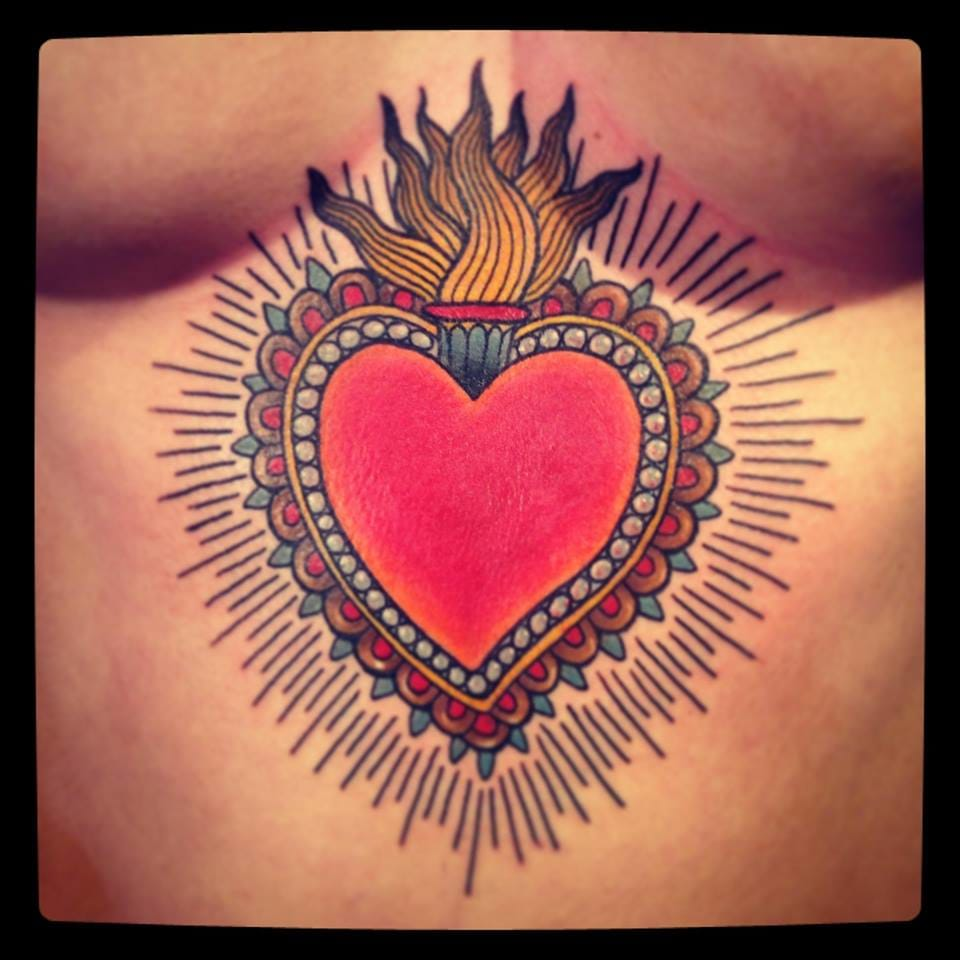 Love the bright colors of this old school plexus sacred heart by Alix Gé...