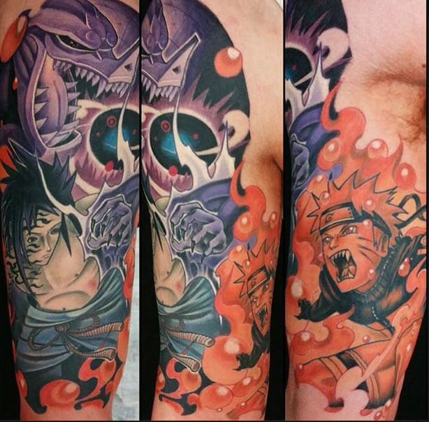 This colorful Naturo sleeve by Nicklas Wong (@tattoosbynicklaswongk)