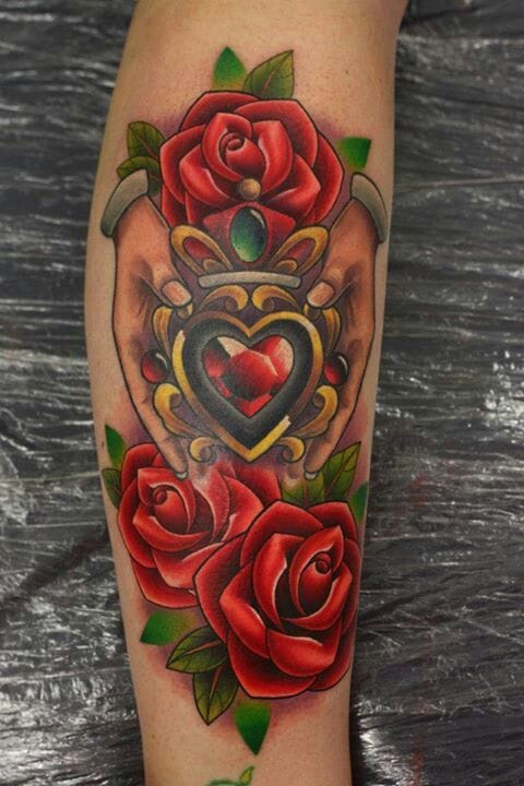 Lovely claddagh and roses piece by Michelle Madison.