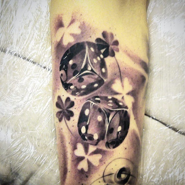 Cool piece with Lucky clovers in negative space by Jones...