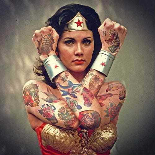 Photoshopped tattooed celebrities; Wonder Woman