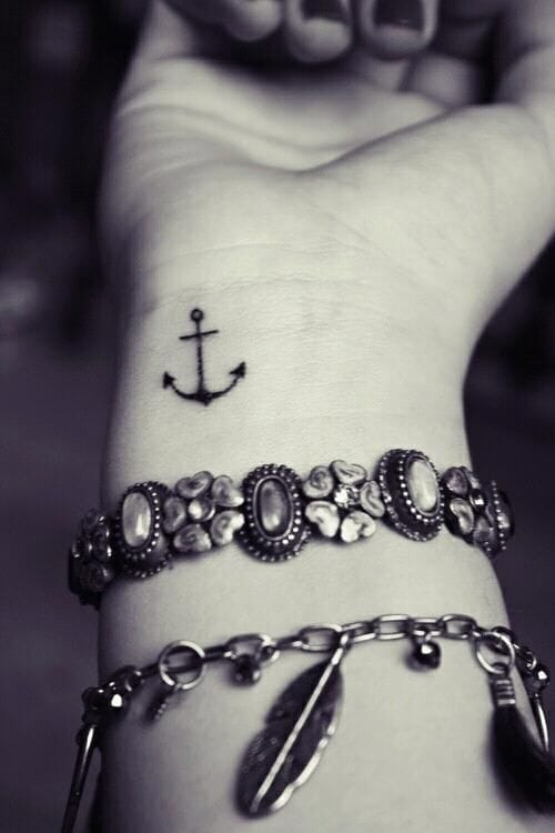 Anchor wrist tattoo that is one of the cutest of small and cool tattoos designs #anchor #small #delicate #linework