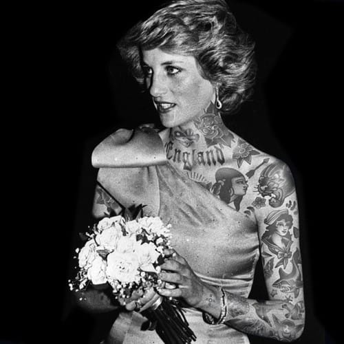 Photoshopped tattooed celebrities; Princess Dianna