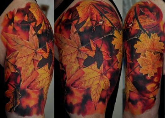 10 Beautiful Leaf Tattoos
