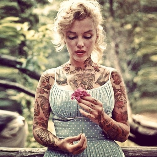 Marilyn Monroe so lovely with her photoshopped tattoos