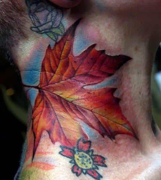 Awesome leaf tattoo by Cecil Porter