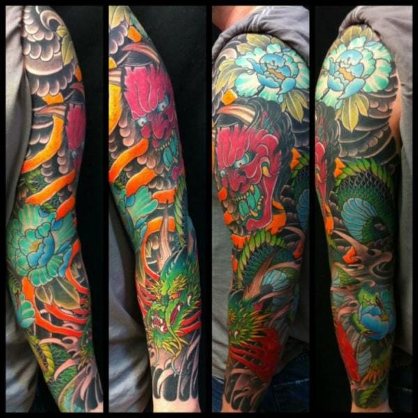 Japanese Style Sleeve Tattoo Flowers Koi Samurai: 22 Amazing Bold Japanese Sleeves