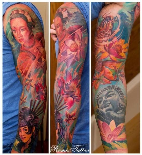Geisha Buddha tattoo by Remis Tattoo