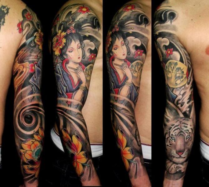 Geisha tiger sleeve by Javier Tattoo