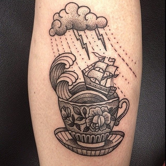 This weather ain't my cup of tea. Beautiful dotwork tattoo by Susanne Konig.