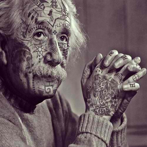 Photoshopped tattooed celebrities; A hardcore Albert Einstein