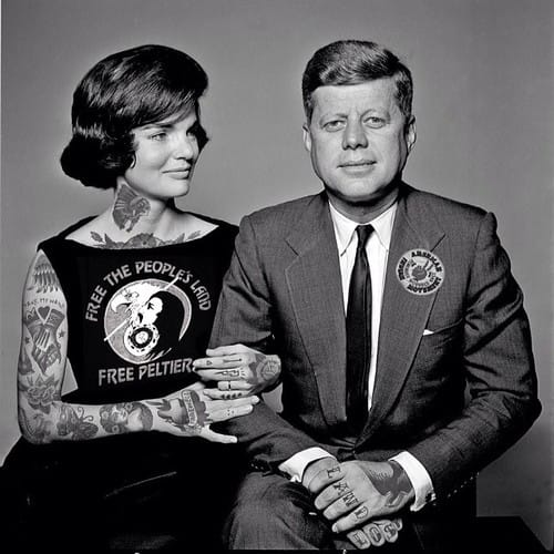 Photoshopped tattooed celebrities; Jackie O and JFK