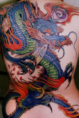 Blue dragon Japanese tattoo, artist unknown #japanese #japanesestyle #japanesetattoo #bluedragon #dragon #backpiece