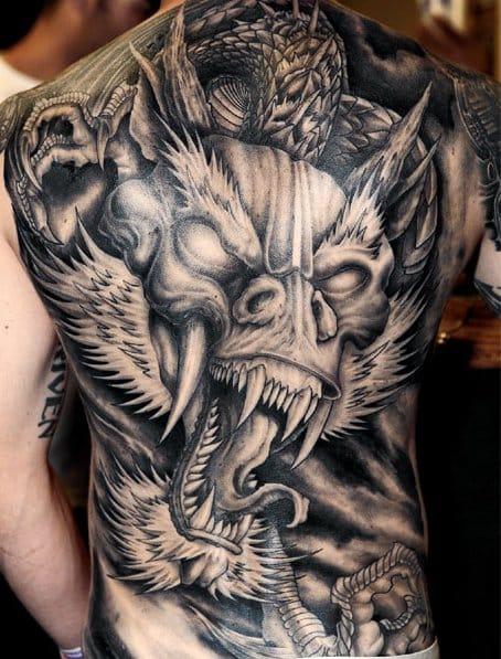 Stunning Japanese tattoo - full backpiece, artist unknown #japanese #japanesestyle #japanesetattoo #whitedragon #dragon #backpiece