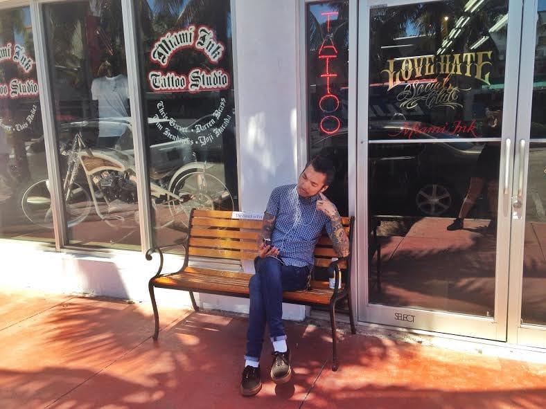 TV's Yoji Harada, in his favorite seat outside the studio.