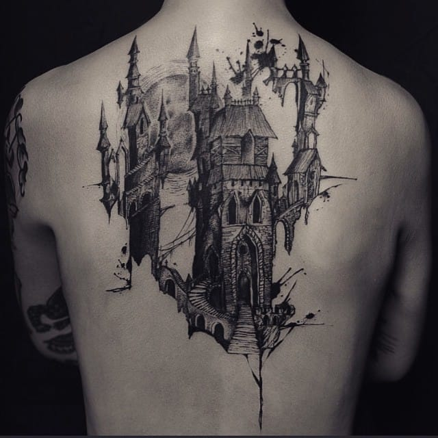 15 Gorgeous Fantasy Castle Tattoos