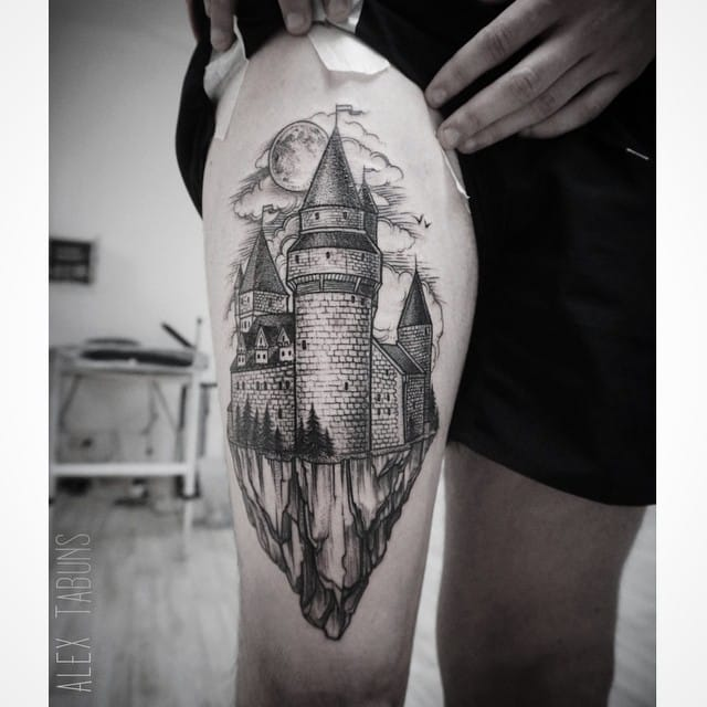 Looks like Alex Tabuns has many terrific castle tattoos to credit!