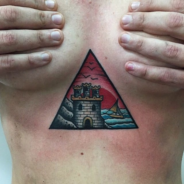 15 gorgeous fantasy castle tattoos tattoodo for Solar plexus tattoo