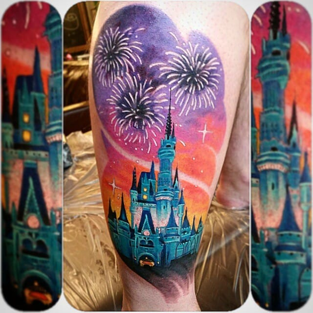 Indeed, we need some Disney castle tattoos. Here by Anthony Ortega.